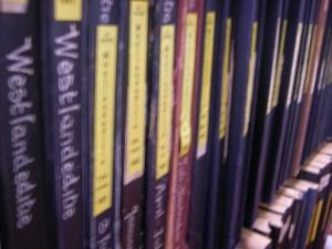 Leggers met oude kranten in de kluis van het Historisch Archief Westland