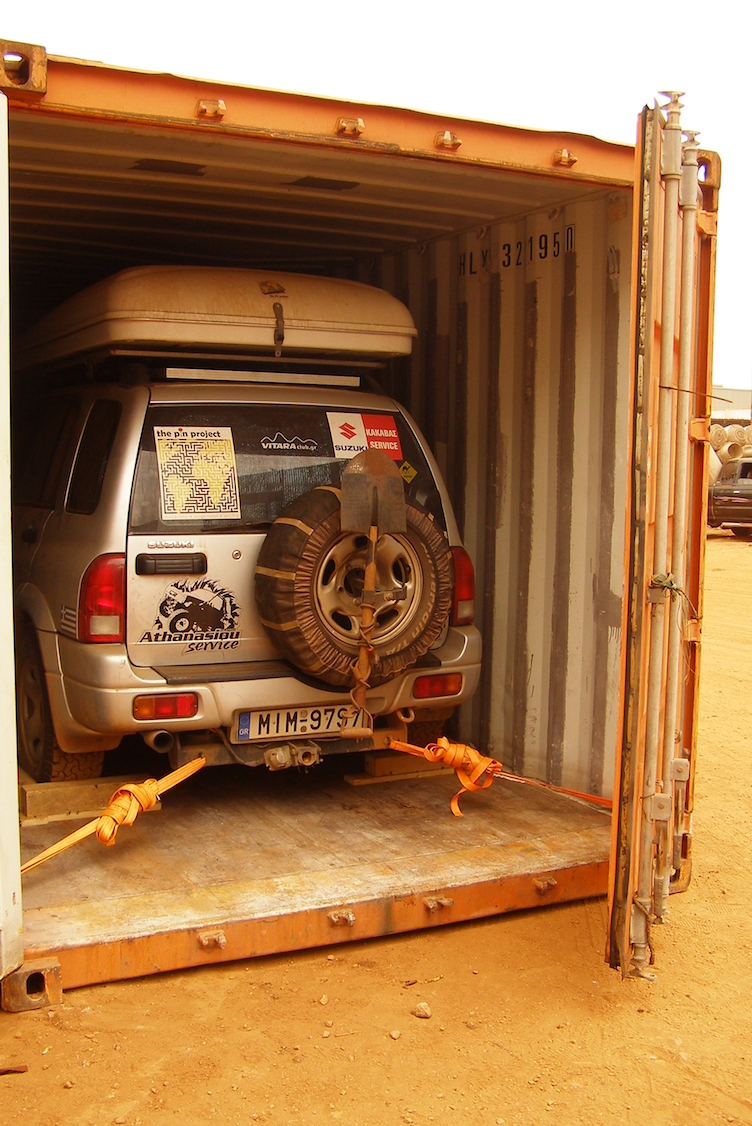 Overland vehicle shipping container