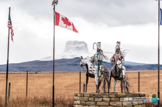 Native Indian statues and flags as we crossed into USA