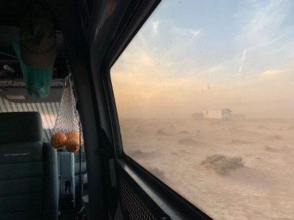 Dust storm van window