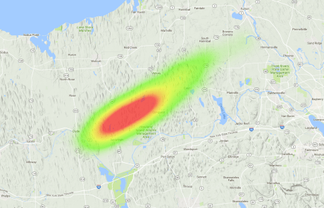 OLHZN-5 High Altitude Balloon Flight Final Prediction Landing Zone Heat Map