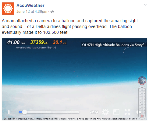 Weather balloon GoPro captures Airbus A319 flyby