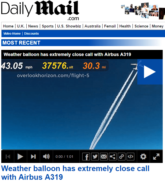 Weather balloon has extremely close call with Airbus A319