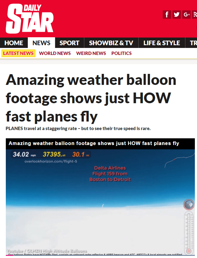 Amazing weather balloon footage shows just HOW fast planes fly