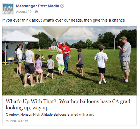 Weather balloons have Canandaigua grad looking up, way up