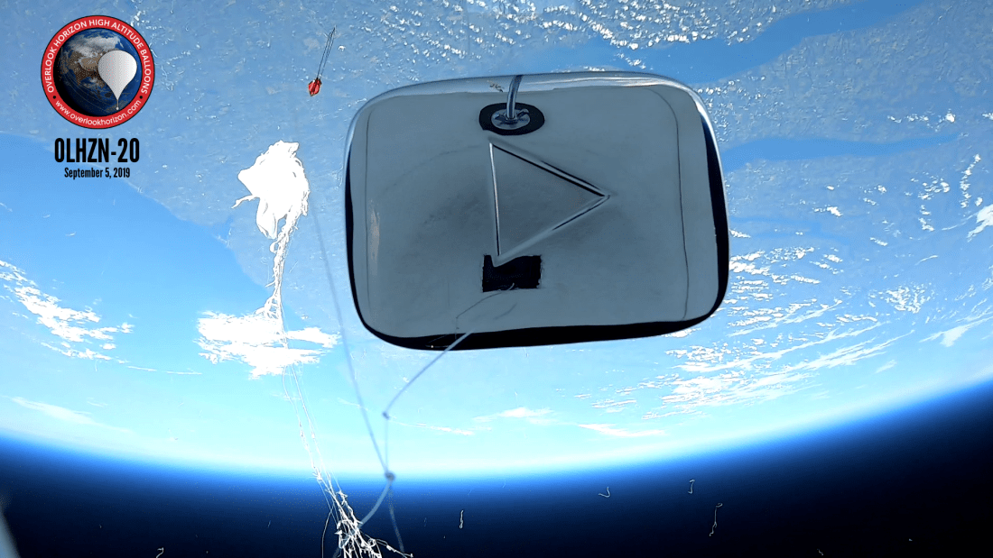 OLHZN-20 JustDustin YouTube Play Button to Space
