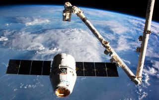 SpaceX Dragon capsule at the International Space Station