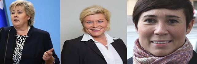 Norwegian PM Erna Solberg | Finance Minister Siv Jensen | First Women Foreign Minister Marie Eriksen Søreide