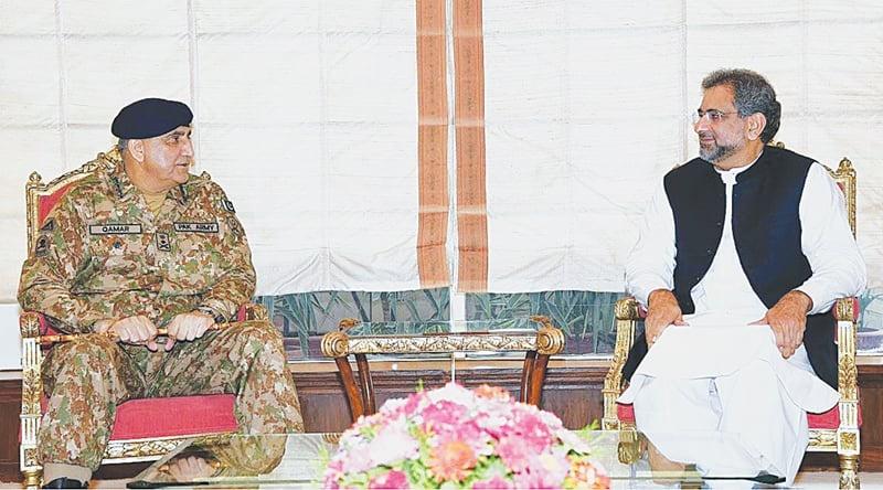 Army Chief Qamar Javed Bajwa and Prime Minister Shahid Khaqan Abbasi