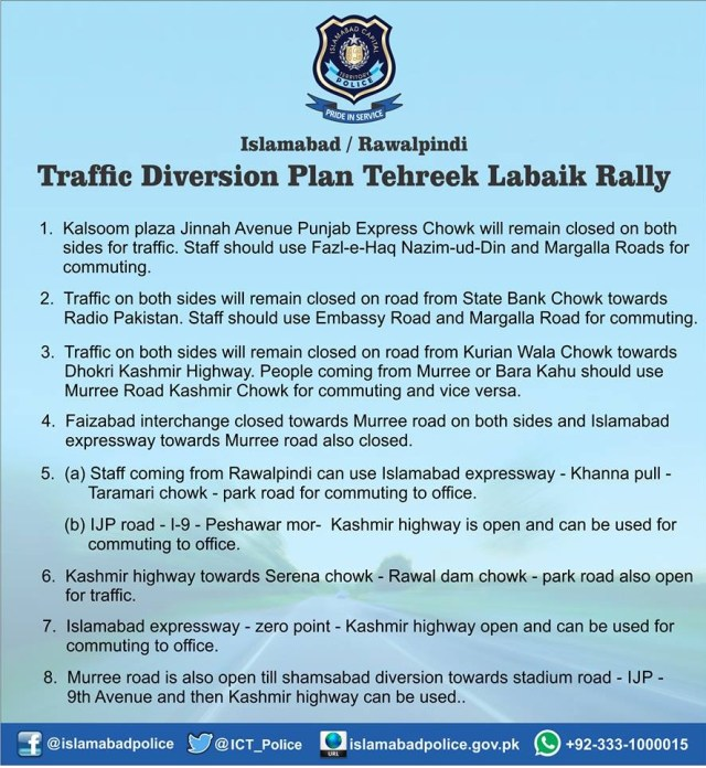 Islamabad Traffic Police Diversion Plan for Tehreek e Labaik ya Rasool Allah Rally