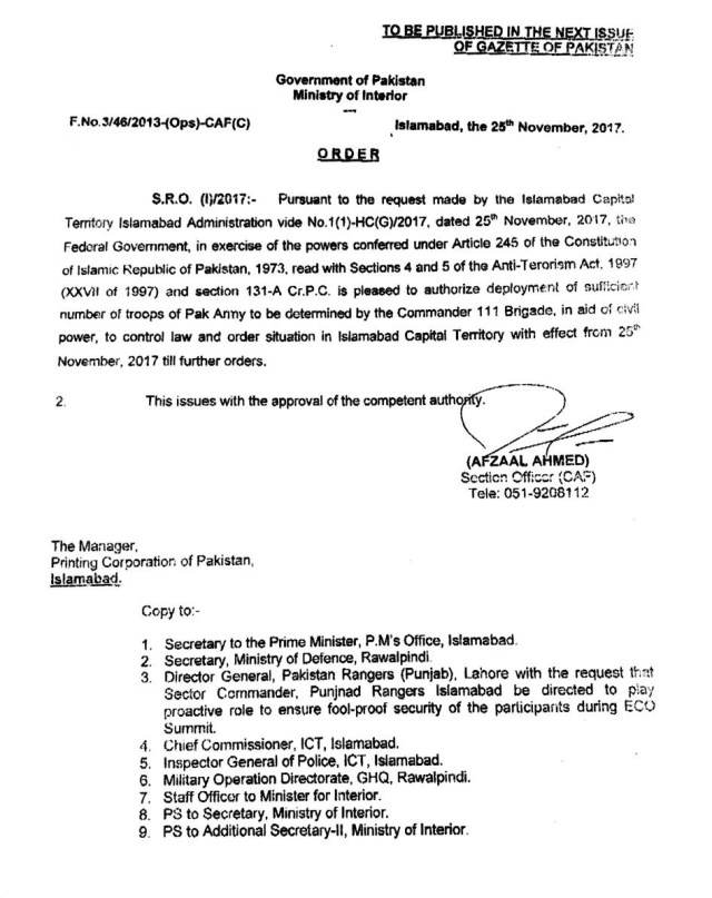 Interior Ministry Notification to Call Army in Islamabad