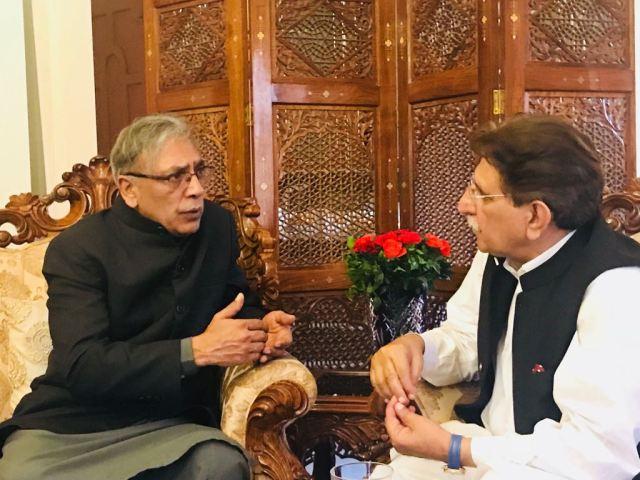 Chairman kashmir council eu Ali Raza Syed meets PM AJK Raja Farooq Haider Khan