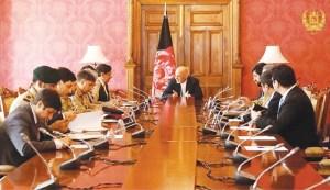 AFGHAN President Ashraf Ghani meets National Security Adviser Nasser Janjua in Kabul on Saturday