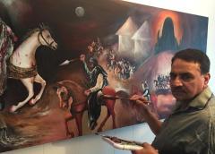 واقعہ کربلا کے بارے میں نارویجن پاکستانی مصور انور علی کاظمی کا آرٹ ورک