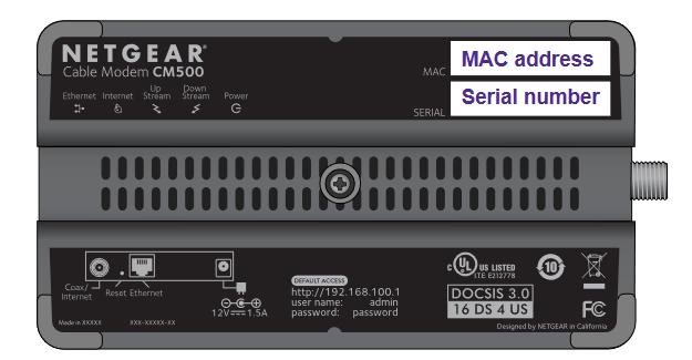 Netgear CM500 MAC Address