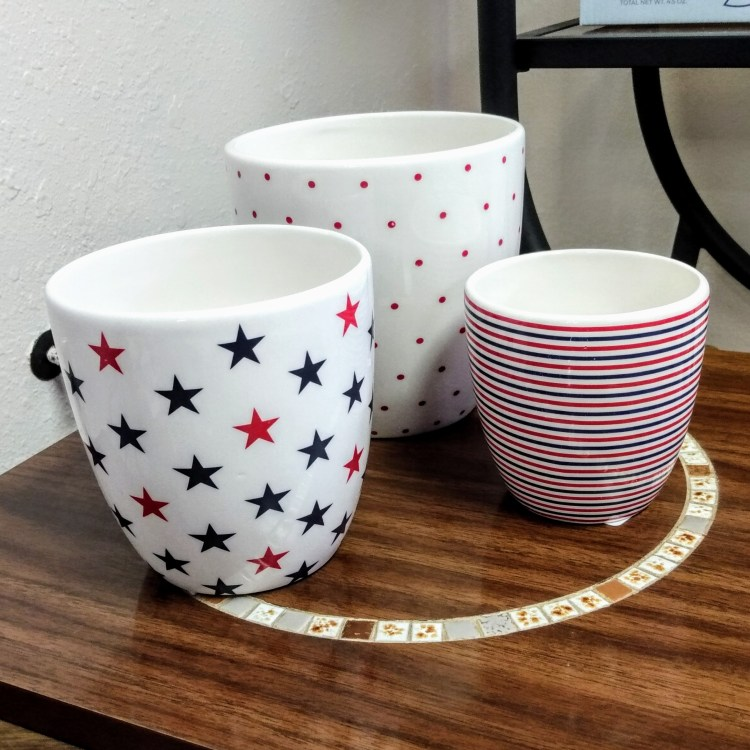Red, White, Blue Pots