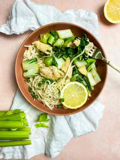 chicken bok choy stir fry with celery and lemon