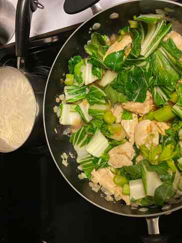cooking noodles with chicken bok choy