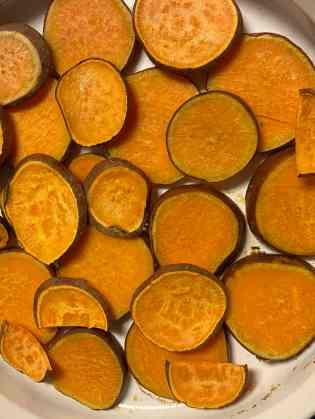 sweet potatoes baked on bottom of pan