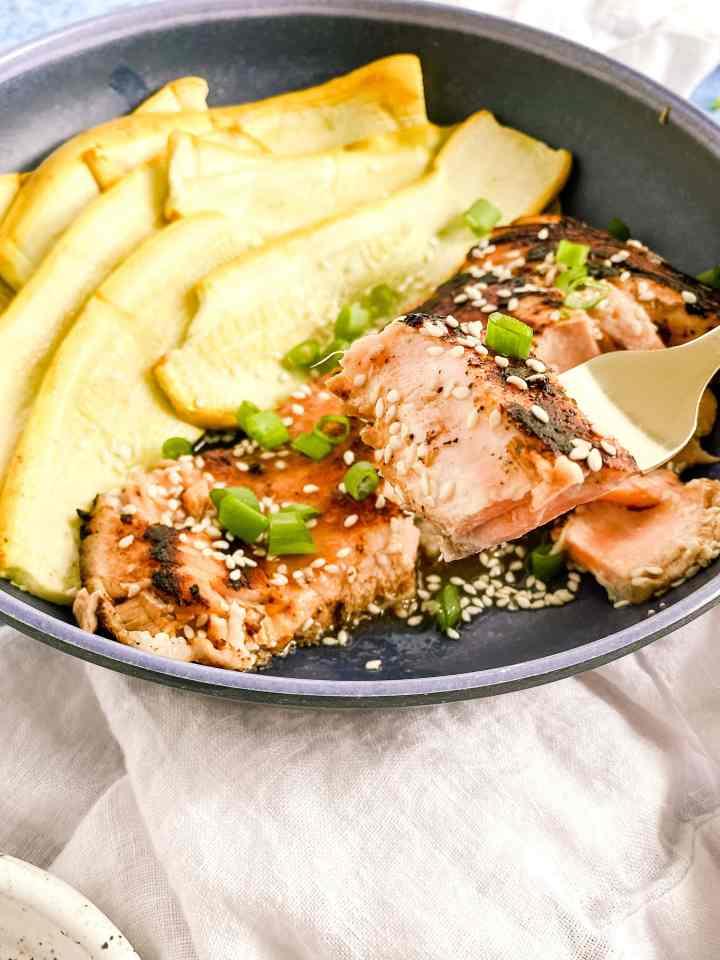 Teriyaki salmon served with squash