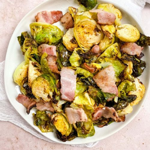 bacon and brussel sprouts on a plate