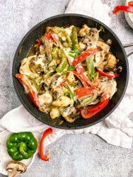 chicken cheesesteak in a pan