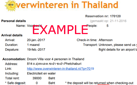 holiday in Thailand confirmation example