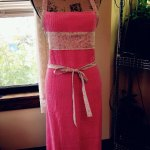 Pink Apron With Fabric Trim