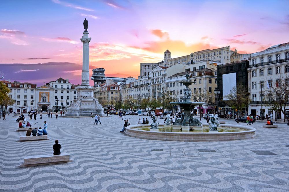 Rossio square in Lisbon Portugal at sunset