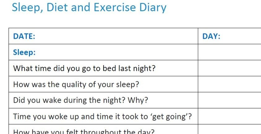 sleep diet and exercise diary ouse valley football