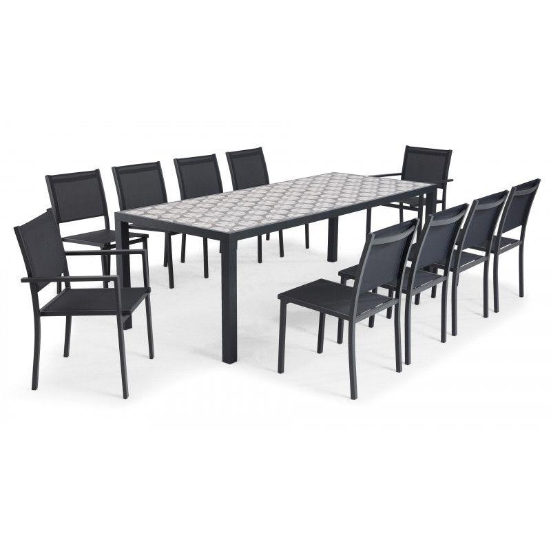 salon de jardin 10 places table en ceramique motif cross tivoli