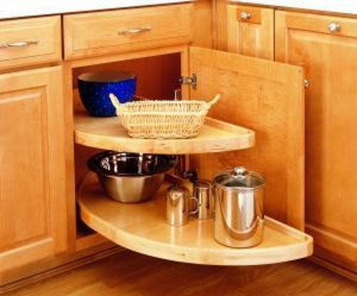Rev-A-Shelf 4WLS882 Wood Half Moon Lazy Susan
