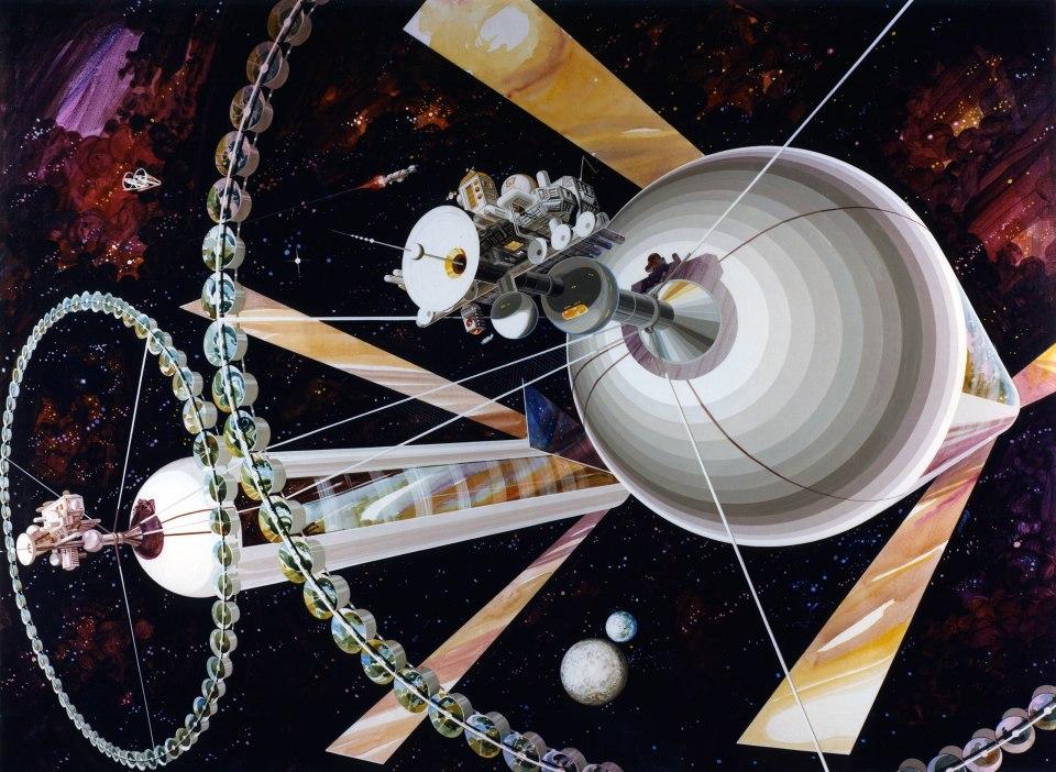 Gigantescas colônias espaciais modeladas a partir dos desenhos do físico Gerard O'Neill