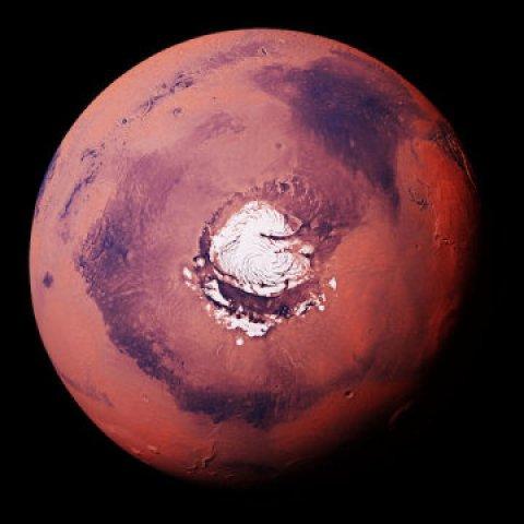 grande quantidade de gelo em Marte