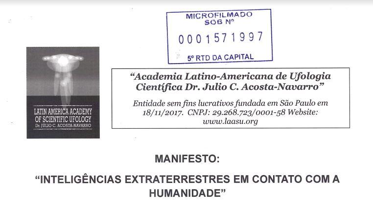Manifesto: Inteligências extraterrestres em contato com a humanidade