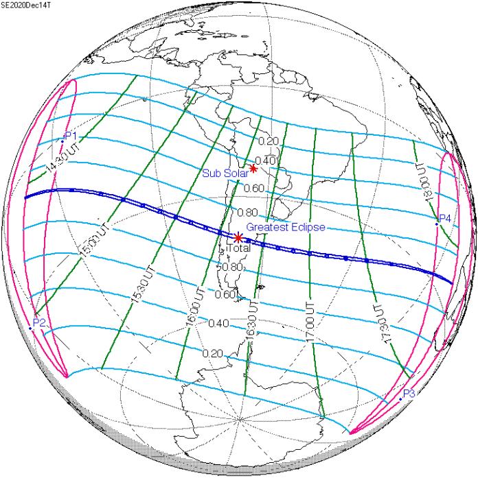 Haverá um eclipse solar total visto na América do Sul em 14 de dezembro