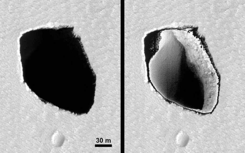 Buraco profundo e estranho é encontrado em Marte  (mas a notícia não é nova)