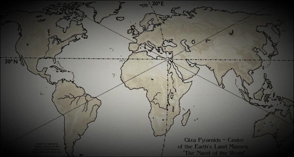 A Grande Pirâmide está exatamente no centro da massa de terra da Terra