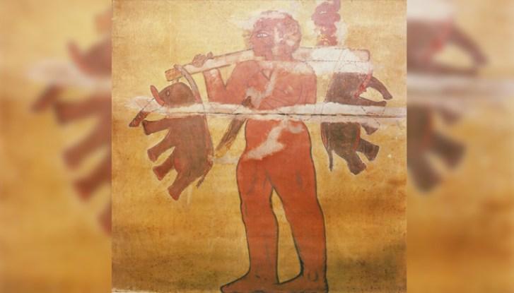 Mural nas pirâmides da Núbia retrata um gigante carregando dois elefantes