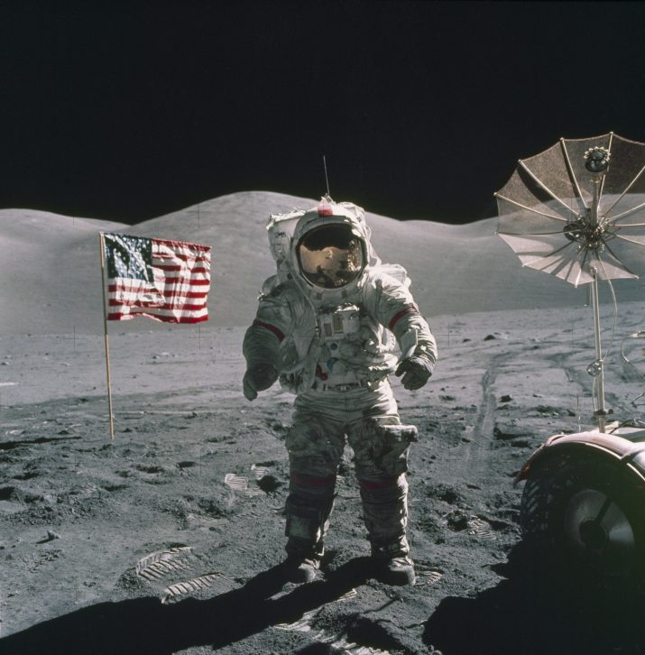 APOLLO 17 ASTRONAUT WITH AMERICAN FLAG ON MOON, DECEMBER 1972