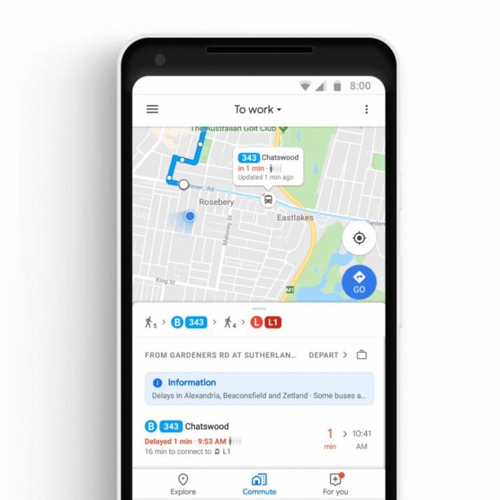 Google Maps tiempo real bus