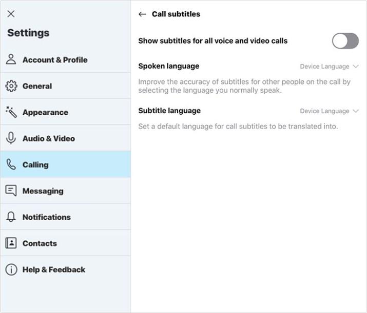 Skype activar subtitulos