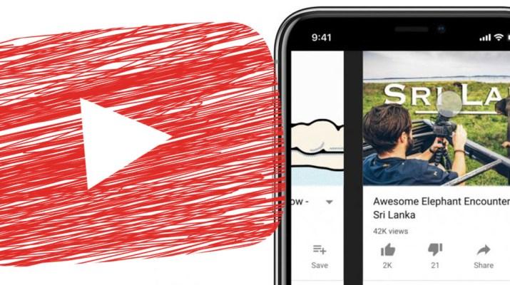 YouTube deslizar horizontal