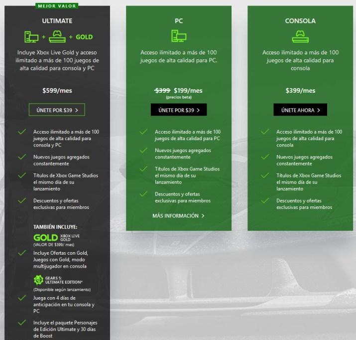 Precios Xbox Game Pass