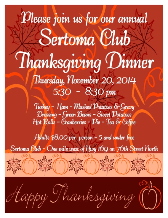 Sertoma thanksgiving dinner 2014