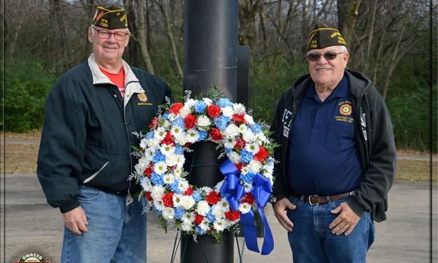 VFW Members Place Wreath at Owasso Veterans Memorial