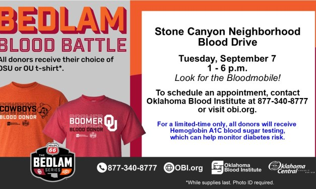 Stone Canyon Hosting Blood Drive September 7th