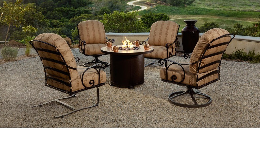 outdoor seating set with firepit