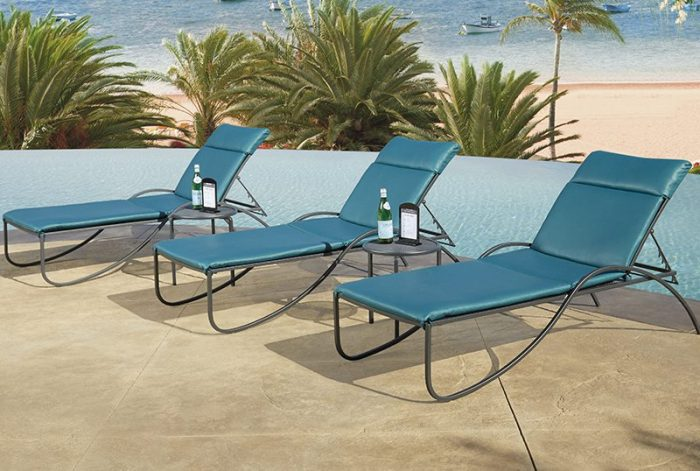 Blue chaise lounges