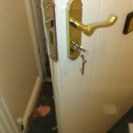 Replacement lock before stitching the door